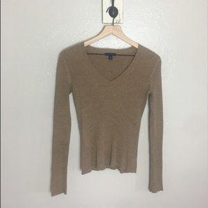 GAP • Tan Brown V Neck Long Sleeve Cotton Sweater